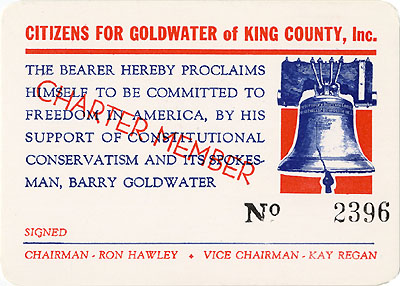 Citizens for Goldwater of King County, Inc. Charter Member