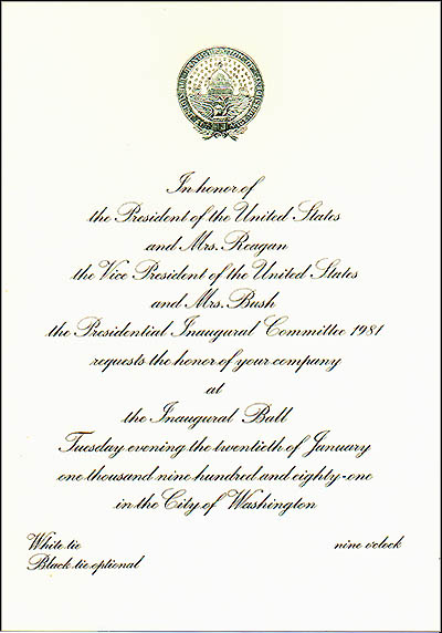 Official 1981 Reagan Bush Inaugural Ball
