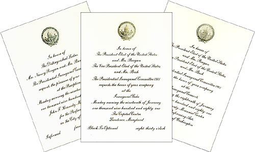 1981 Inaugural Events Official Invitations