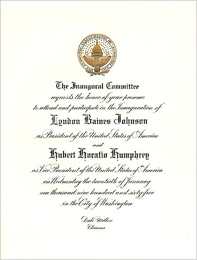Johnson and Humphrey: Official Inauguration invitation (1965)