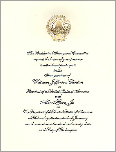 1993 Official Inaugural Invitation