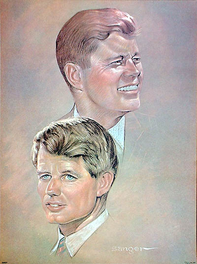 John and Robert Kennedy: 1968 martyred brothers memorial poster