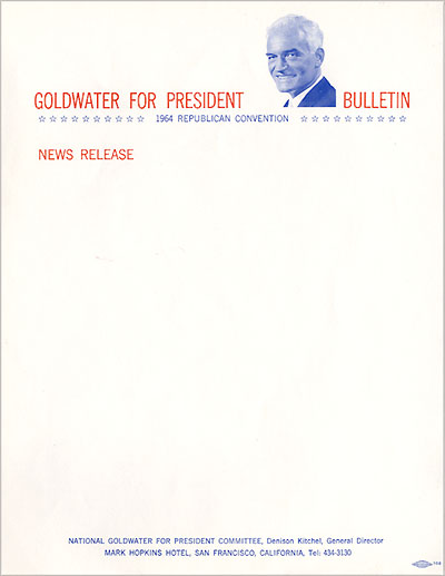 Goldwater for President Bulletin