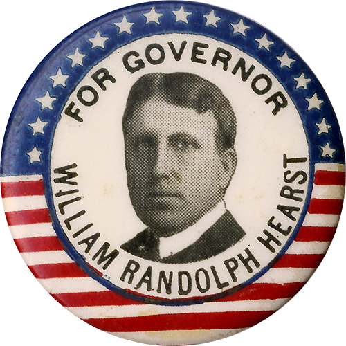 William Randolph Hearst: Flag-border FOR GOVERNOR (New York) picture button
