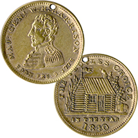 William Henry Harrison: Classic Log Cabin campaign medalet
