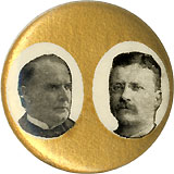 McKinley and Roosevelt: Gold field jugate pinback