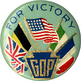 GOP for Victory: World War I flags of Allies pinback