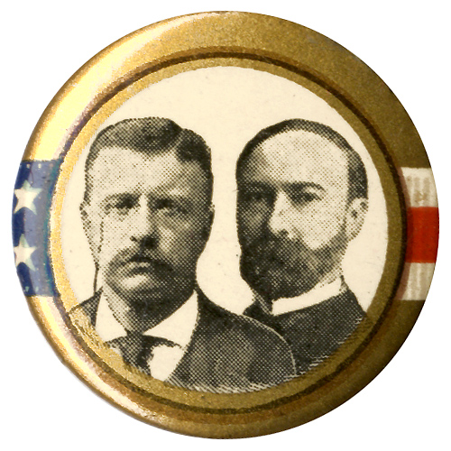 Roosevelt and Fairbanks: Classic stars-and-stripes jugate pinback