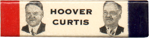Hoover and Curtis: Scarce rectangular jugate pinback