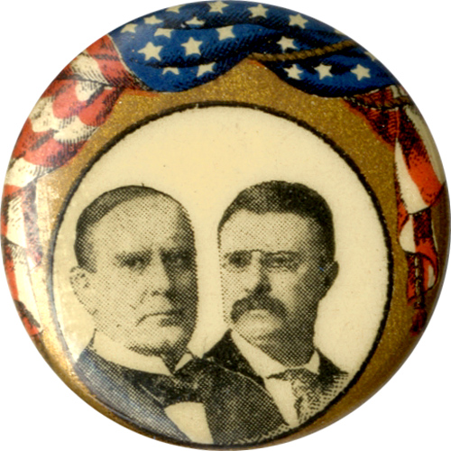 McKinley and Roosevelt: Draped flag jugate pinback