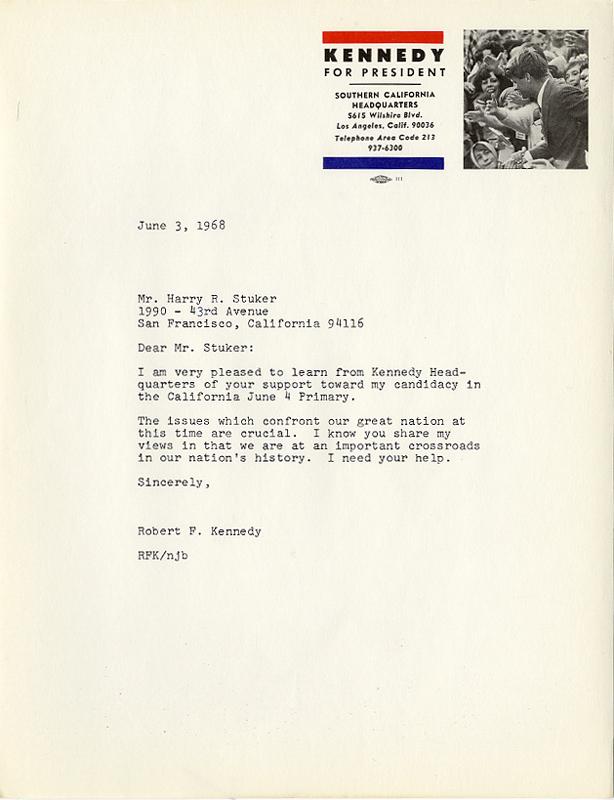 June 1968 Robert Kennedy California Primary Campaign Volunteer Letter 6840