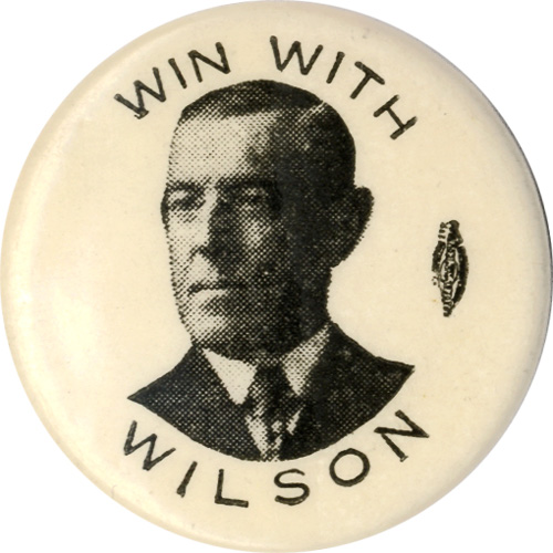 Woodrow Wilson: Win With Wilson variant design pinback