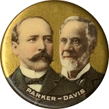 Parker and Davis: Gold background chromo jugate pinback