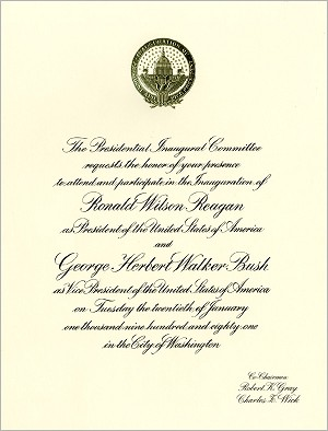 1981 Official Inaugural Invitation