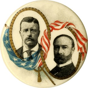 Roosevelt and Fairbanks: Classic patriotic flag jugate pinback