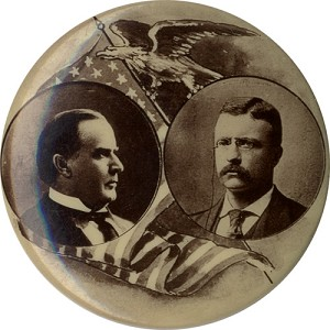 McKinley and Roosevelt: Handsome sepia photographic jugate pinback