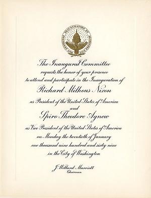 Official inaugural invitation 1969 official inaugural invitation stopboris Image collections