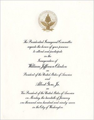 1997 Official Inaugural Invitation
