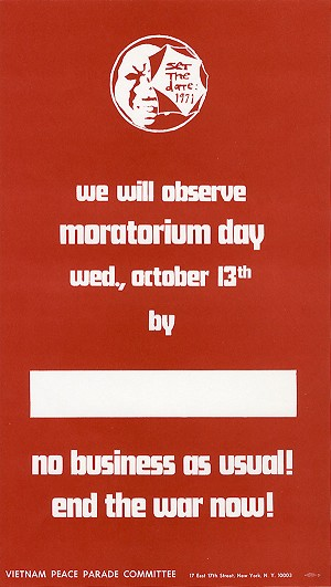 "Vietnam War: ""We will observe moratorium day"" protest poster"