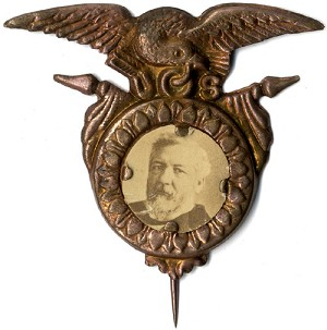 James G. Blaine: Unlisted photographic shell badge