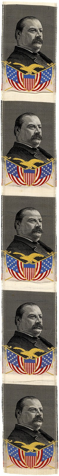 Grover Cleveland: Uncut series of five silk campaign ribbons