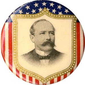 Alton Parker: Patriotic shield portrait pinback