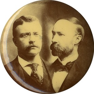 Roosevelt and Fairbanks: Large jugate photo button