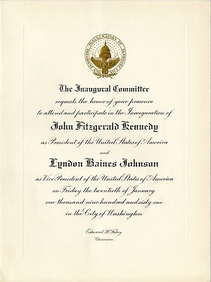 Kennedy and Johnson: Official 1961 Inauguration invitation