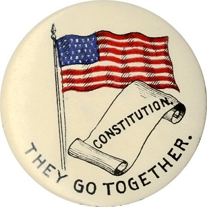 McKinley and Expansion: Rare THEY GO TOGETHER Constitution and flag lapel stud