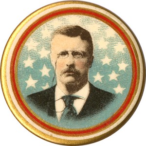 Theodore Roosevelt: Array-of-stars chromo picture pinback