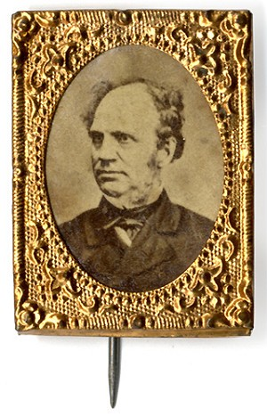 Horatio Seymour: Fine albumen photo badge