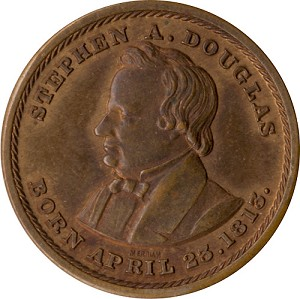 Stephen Douglas: High grade Union and Equality copper medalet