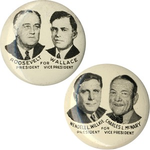 1940 Election: Matched pair of jugate litho pinbacks