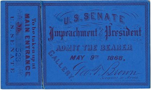 Andrew Johnson: Impeachment trial ticket (May 9)