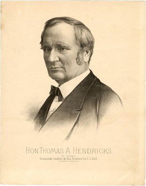 Grover Cleveland: Thomas Hendricks VP campaign poster