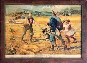 "Spanish-American War: ""Back from the War"" McCormick harvester advertising poster"