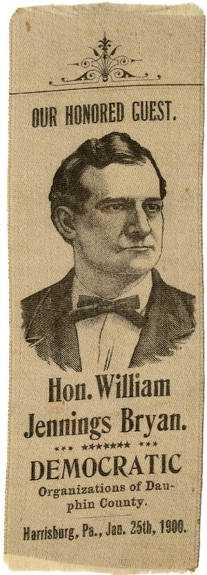 William Jennings Bryan: 1900 Harrisburg Honored Guest one-day event portrait ribbon