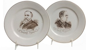 Harrison and Morton: For President and Vice President matching plates