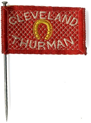 Cleveland and Thurman: Woven silk flag stickpin