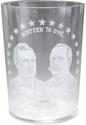 Bryan and Sewall: Jugate SIXTEEN TO ONE FREE COINAGE OF SILVER campaign tumbler