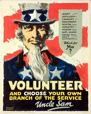 World War I / Uncle Sam: Rare VOLUNTEER recruitment poster