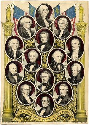 Franklin Pierce: Rare United States presidents print by Kellogg