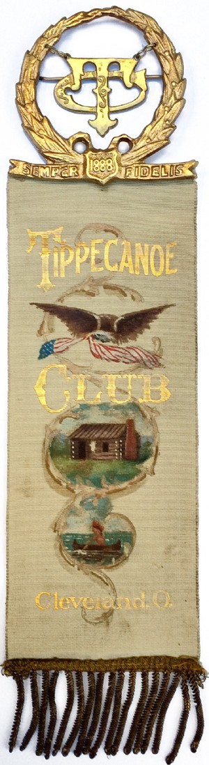 Benjamin Harrison: Elaborate hand-painted Cleveland TIPPECANOE CLUB ribbon badge