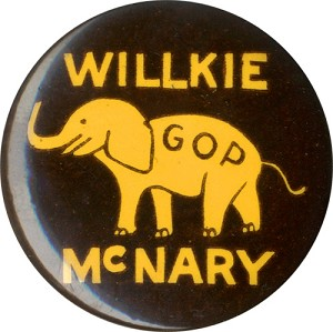 Willkie and McNary: GOP elephant celluloid button