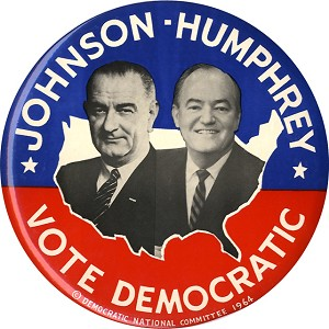 Johnson and Humphrey: Official DNC jugate 9-inch button