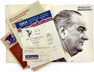 Lyndon Johnson: Official 1964 Democratic National Convention Book, plus ephemera