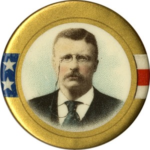 Theodore Roosevelt: Star-and-stripes chromo portrait pinback