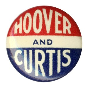 Hoover and Curtis: Uncommon celluloid logo button