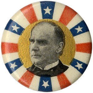 William McKinley: Uncommon stars-and-stripes portrait button
