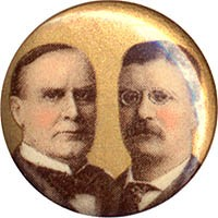 McKinley and Roosevelt: Gold background jugate pinback